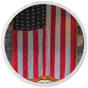 Us Flag At Whiteface Mountain Ny Round Beach Towel