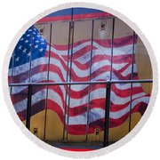 Us Flag On Side Of Freight Engine Round Beach Towel