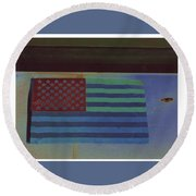 Us Flag On Wall Casa Grande Arizona 2004-2008 Round Beach Towel