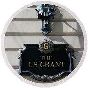 Us Grant Corner Plaque Round Beach Towel