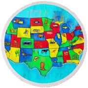 Us Map With Theme  - Free Style -  - Pa Round Beach Towel