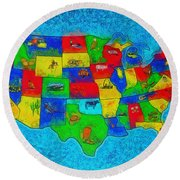Us Map With Theme  - Special Finishing -  - Da Round Beach Towel