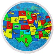 Us Map With Theme  - Van Gogh Style -  - Pa Round Beach Towel