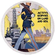 U.s. Marines Active Service On Land And Sea Round Beach Towel