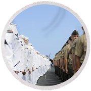 U.s. Marines And Sailors Stand Round Beach Towel