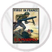 Us Marines - First In France Round Beach Towel