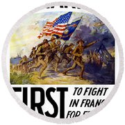 Us Marines - First To Fight In France Round Beach Towel