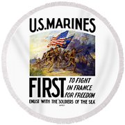 Us Marines - First To Fight In France Round Beach Towel by War Is Hell Store