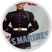 Us Marines - Ready Round Beach Towel