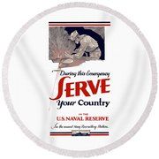 Us Naval Reserve Serve Your Country Round Beach Towel