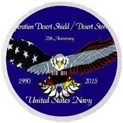 Us Navy Desert Storm Round Beach Towel