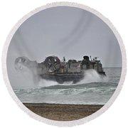 Us Navy Hovercraft Round Beach Towel