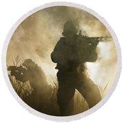 U.s. Navy Seals During A Combat Scene Round Beach Towel by Tom Weber