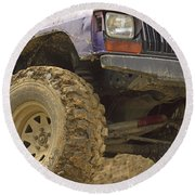 Us Off Road Car Round Beach Towel