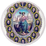 Us Presidents And Lady Liberty  Round Beach Towel
