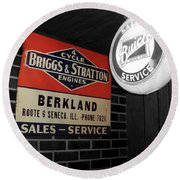 Us Route 66 Briggs And Stratton Signage Sc Round Beach Towel
