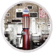 Us Route 66 Smaterjax Dwight Il Gas Pump 01 Pa 01 Round Beach Towel