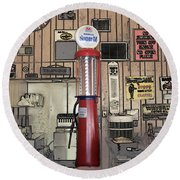 Us Route 66 Smaterjax Dwight Il Gas Pump 01 Pa 02 Round Beach Towel