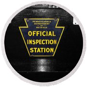 Us Route 66 Smaterjax Dwight Il Official Inspection Signage Round Beach Towel