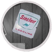 Us Route 66 Smaterjax Dwight Il Sinclair Gasoline Signage Round Beach Towel