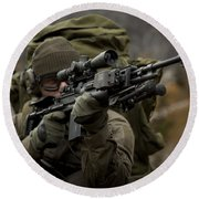 U.s. Special Forces Soldier Armed Round Beach Towel