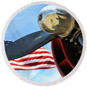Usa Flag Bomber Wwii  Round Beach Towel