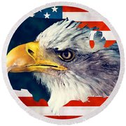 Usa Flag Eagle Round Beach Towel