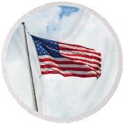 Usa Flag On Blue Sky With Clouds Round Beach Towel