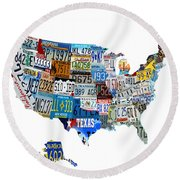 Usa License Plates Map 4p Round Beach Towel
