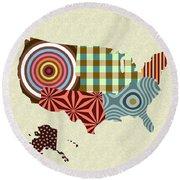 Usa Map Round Beach Towel