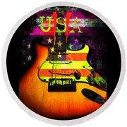 Usa Strat Guitar Music Round Beach Towel