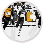 Usain Bolt Bringing It Home Round Beach Towel