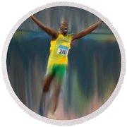 Usain Bolt 2008 Round Beach Towel