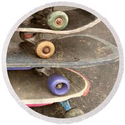 Used Skateboards Round Beach Towel