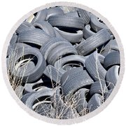 Used Tires At Junk Yard Round Beach Towel