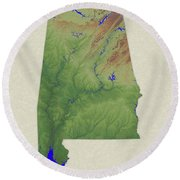 Usgs Map Of Alabama Round Beach Towel