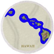 Usgs Map Of Hawaii Round Beach Towel