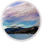 Ushuaia, Ar, Clouds Over Mountains Round Beach Towel