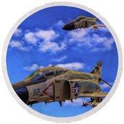 Usn F-4 Phantom II Over Vietnam - Oil Round Beach Towel