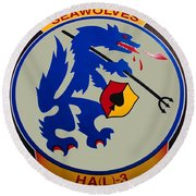 Usn Seawolves Logo Round Beach Towel