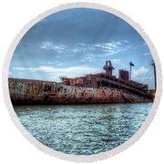 Usns American Mariner - Target Ship, Chesapeake Bay, Maryland Round Beach Towel