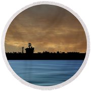 Uss Abraham Lincoln 1988 V2 Round Beach Towel