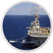 Uss Boxer Leads A Convoy Of Ships Round Beach Towel