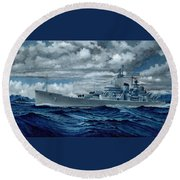 Uss Canberra Cag-2  Round Beach Towel