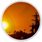 Uss Carl Vinson At Sunset 3 Round Beach Towel
