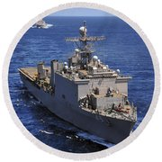 Uss Comstock Leads A Convoy Of Ships Round Beach Towel
