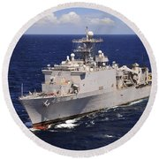 Uss Comstock Transits The Indian Ocean Round Beach Towel