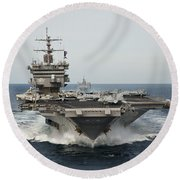 Uss Enterprise Transits The Atlantic Round Beach Towel by Stocktrek Images