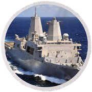 Uss Green Bay Transits The Indian Ocean Round Beach Towel