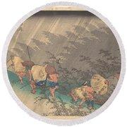 Utagawa Hiroshige    Shno Hakuuwhite Rain At Shno Round Beach Towel